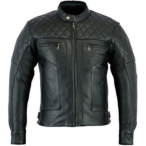 Bikers Gear Australia Limited Baron Diamond Premium Qualität Soft Analine Leder Motorrad Jacke CE Abnehmbare Rüstung Schwarz Anthrazit Größe XL