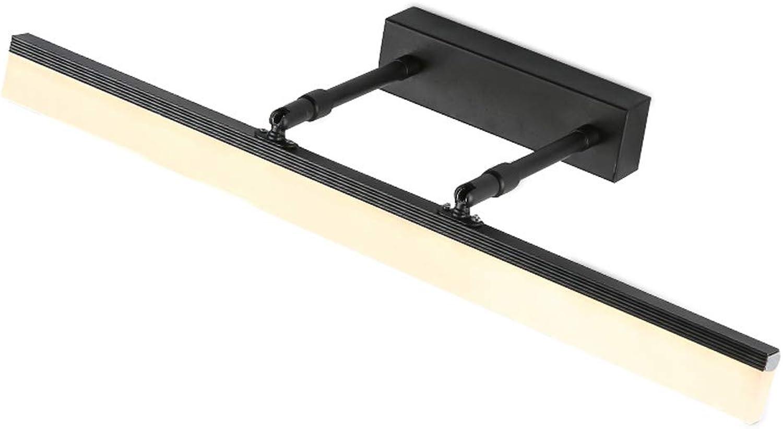 GYDD Spiegelleuchte, LED verstellbare Arm Spiegel Scheinwerfer schwarz Wand Sonces IP44 (Farbe   Weies Licht-12W-50CM)