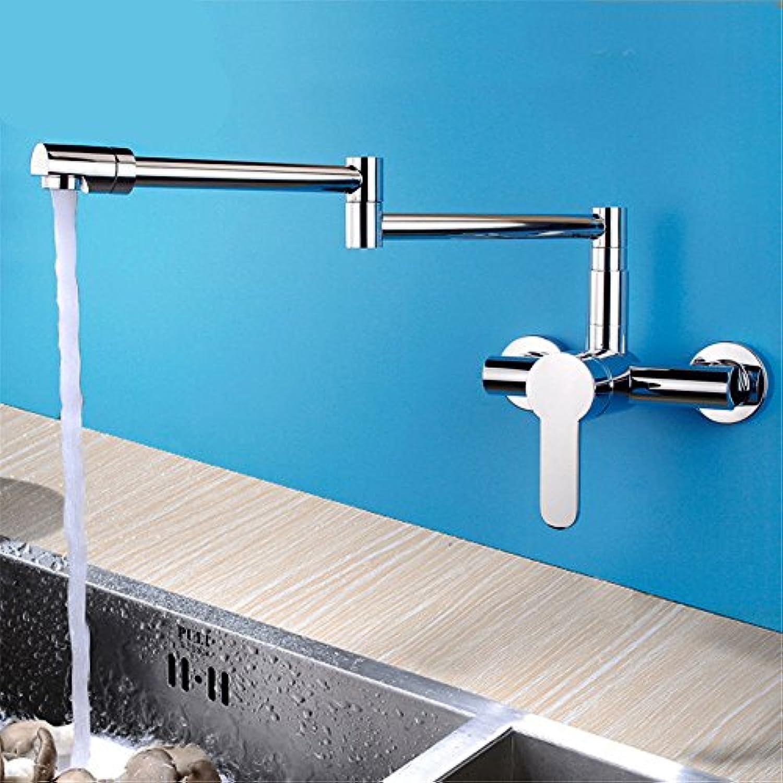 MEIBATH Waschtischarmatur Badezimmer Waschbecken Wasserhahn Küchenarmaturen In die Wand Chrom Warmes und Kaltes Wasser Messing Schwenken Küchen Wasserhahn Badarmatur