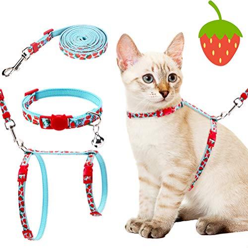 PAWCHIE Katzengeschirr mit Leine und Halsband Set – ausbruchsicher, verstellbar, H-geschröpfte Katzenweste, weicher, bequemer Gurt für Katzen im Freien, Erdbeer-Muster