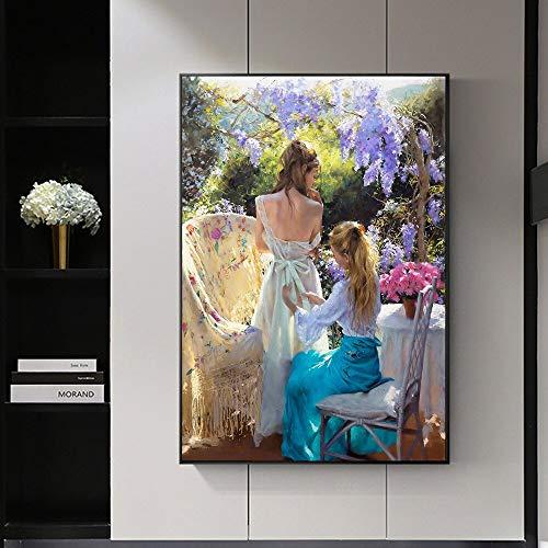 HGlSG Moderne Elegante Meisje Tuin Tijdverdrijf Canvas Schilderij Kunst Poster Wall Art Foto Moderne Woondecoratie Da Vinci Voor Living A4 70X100cm