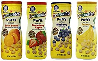 Gerber Graduates Apple Strawberry, Banana, Sweet Potato, Blueberry Puffs /pack of 4 1.48oz