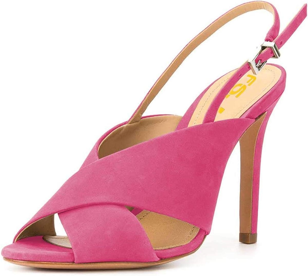 FSJ Women Direct stock discount A surprise price is realized Elegant Slingback Sandals Peep Heel High Toe Stiletto