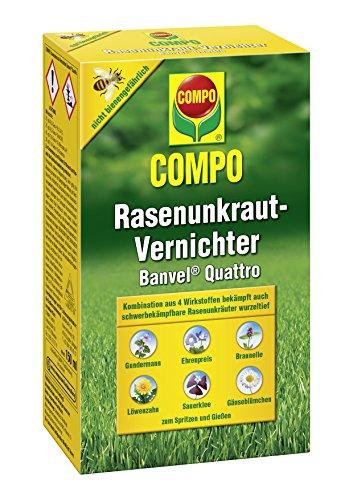 Compo Rasenunkraut-Vernichter Banvel Quattro, Bekämpfung von schwerbekämpfbaren Unkräutern im Rasen, Konzentrat, 300 ml (300 m²)