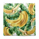 RELEESSS Duschvorhang Banane Obst Wasserdicht Badezimmer Gardinen mit Haken 182 x 182 cm