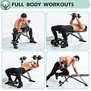 LINODI Weight Bench for Full Body Workout, Adjustable Workout Bench Press for Home Gym Strength Training