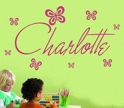 Windsor Designers Murale Sticker- Nom Personnalisable avec Papillon (n'importe Quel nom, Texte) Filles garçons Disney Style MB1, Noir, Large -Size 120cm x 40cm
