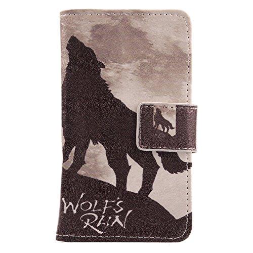 Lankashi PU Flip Leder Tasche Hülle Case Cover Handytasche Schutzhülle Etui Skin Für ZTE Nubia NX523J Z11 Max (Wolf Howl Design)
