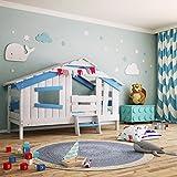 bibex APART Chalet Kinderbett, Spielbett, Jugendbett, Spielhaus, Massive Kiefer, Himmel-blau (mit...