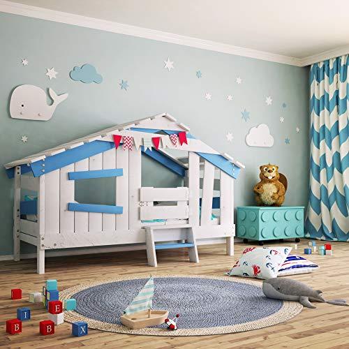 bibex APART Chalet Kinderbett, Spielbett, Jugendbett, Spielhaus, Massive Kiefer, Himmel-blau (mit Türchen)