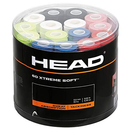 HEAD Extreme Soft Racquet Overgrip 60 Pack - Assorted Jar of Tennis Racket Grip Tape