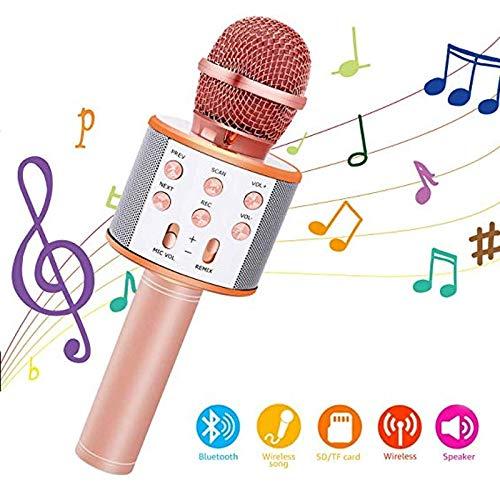 JKYQ Mikrofon drahtlose KTV drahtloses Mikrofon Karaoke Bluetooth singen tragbare Lautsprecher Kompatibel mit Android und iOS-Geräten,Rosegold