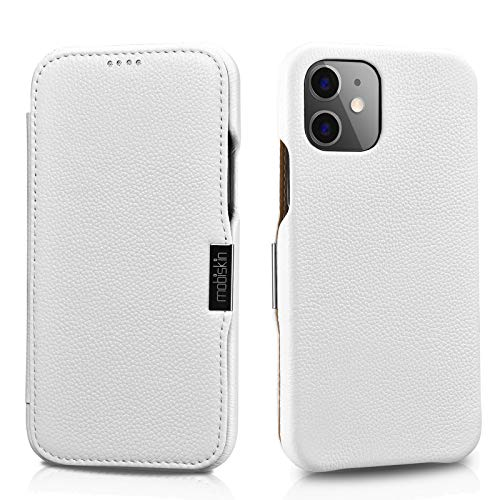 Mobiskin Hülle kompatibel mit Apple iPhone 12 Mini (5,4 Zoll), Handyhülle mit echtem Leder, Hülle, Schutzhülle, dünne Handy-Tasche, Slim Cover, Weiß