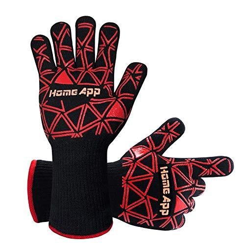 Grillhandschuhe Ofenhandschuhe HomeApp Kochhandschuhe Hitzeschutzhandschuhe bis 500 °C Handschuhe zum Grillen Kochen Herd Backofen Backen Mikrowelle und Schweißen BBQ Gloves 1 Paar (mit Weinausgießer)