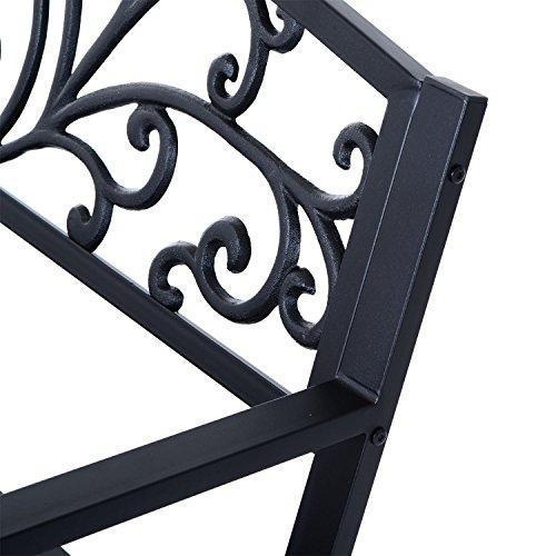 Outsunny® Gartenbank Sitzbank Bank Metall Gartenmöbel 2-Sitzer Schwarz 2 Module (Modell 1) - 7