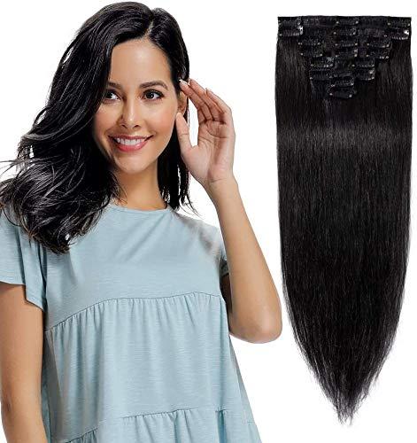 Extension a Clip Cheveux Naturel #1B Noir Naturel - Rajout Cheveux Humains Vrai Cheveux 8 Mèches - Longueur: 25cm [Volume de Base(50g)]