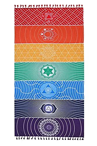 Manta Mandala para Colgar en la Pared, Tapiz Mandala Colorido, Tapiz Pared Yoga, Toalla de Playa 7 Chakra, para Tapices, Mantas De Pared, Toallas de Playa, Mantas Decorativas, Toallas de Cojín