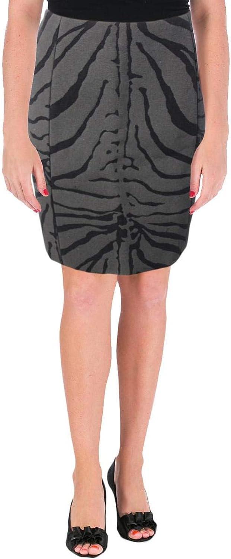 Carven Womens Wool Zebra Print ALine Skirt