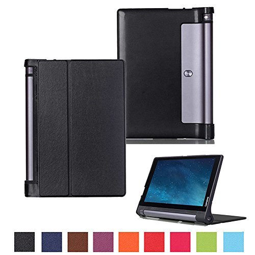 Kepuch Custer Funda para Lenovo Yoga Tab 3 10.1 X50L X50F,Slim Smart Cover Fundas Carcasa Case Protectora de PU-Cuero para Lenovo Yoga Tab 3 10.1 X50L X50F - Negro