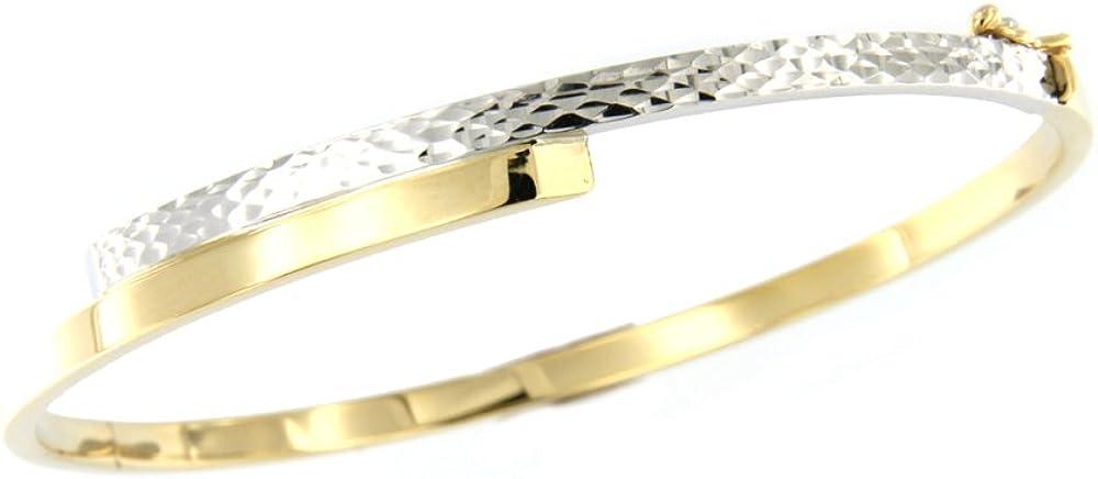 Lucchetta - bracciale rigido per donna in oro 585 giallo e bianco diamantato 5.25gr 4B0921MLA