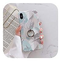 Hully iPhone 11 Pro Maxケース用 Hully リンググリップケース iPhone 12 ミニ XR Xs max 7 8 6 6s プラス SE リーフパターン電話ホルダーカバー-IK68-OLeafLanHui-For iphone 6plus