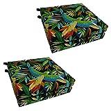 Blazing Needles Patterned Outdoor Spun Polyester Chair Cushions Set, Set of 4, 20' x 19', Tucuman Ebony