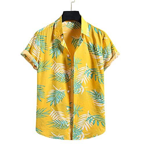 Hawaii Camisa Hombre Verano Regular Fit Hombre Correr Shirt Moda Estampado Manga Corta Playa Shirt Cuello V Henley Camisa Transpirable Secado Rápido Deportiva Camisa A-001 XXL