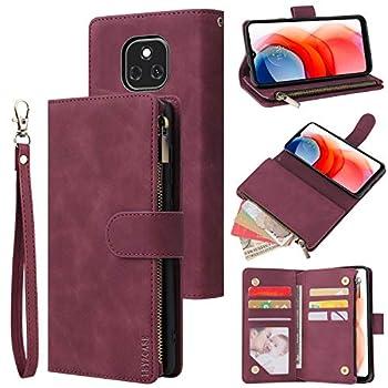 LBYZCASE Phone Case for Moto G Play 2021,Motorola G Play 2021 Wallet Case,Folio Flip Leather Cover[Zipper Pocket][Wrist Strap][Kickstand ] for Motorola Moto G Play 2021  Wine Red