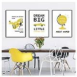 Chihie Yellow Car Nordic Pictures Baby Room Poster Set Pinturas de Lienzo Decorativo Wall Art PicturesLiving Room Decor-40x60cmx3 sin Marco