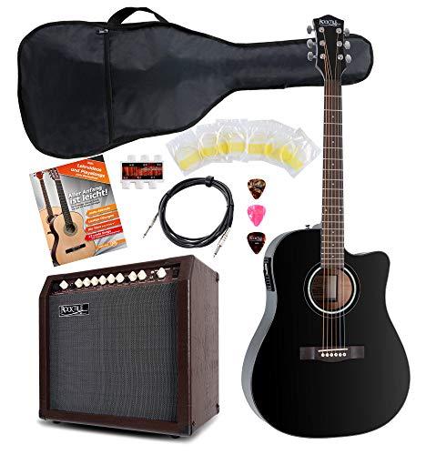 Rocktile D-60CE Westerngitarre Set Stage Set 2 - Akustikgitarre mit Tonabnehmer - 30 Watt Akustik-Verstärker - Zubehörset mit Gigbag - Kabel - schwarz