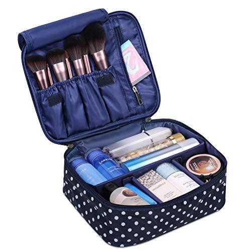 Reise Kosmetiktasche Große Make-up-Tasche Schminktasche Kosmetiktasch Organizer für Damen und Mädchen (Polka Dot)