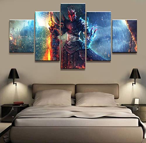 5 Stück Dekorative Guild Wars 2 Gw2 Spiel Poster Bilder Landschaft Wand Für Wohnzimmer Dekor Leinwand(NO Frame size 2)
