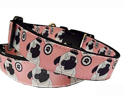 Hundehalsband Mops Halsung Band Halsband Nylon mit Mopsmotiv rosa-schwarz 38 - 53 cm x 2,5 cm