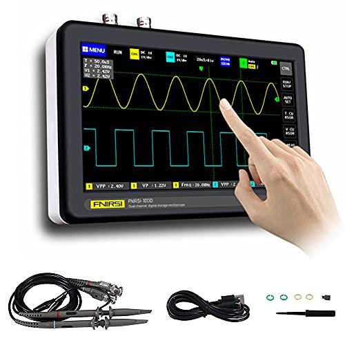 Kacsoo Osciloscopio digital profesiona 1013D 7 Inch Pantalla Táctil 2 Canales 1GSa/s Tasa de Muestreo 100MHz Ancho de Banda Osciloscopios de Mano USB Portátiles