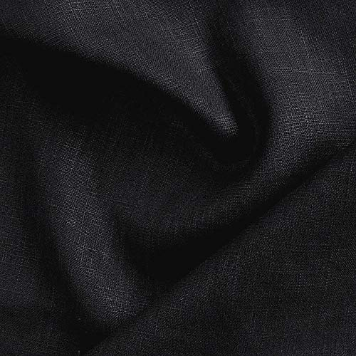 TOLKO 50cm Leinen-Stoff als Meterware | blickdichter Naturstoff | für Hose Rock Bluse Kleider Gewänder | fein gewebter Dekostoff für Vorhänge Gardinen und Dekorationen | 140cm breit (Schwarz)
