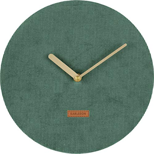 Karlsson Corduroy klok, wandklok, cord, groen, één maat