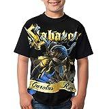 Kmehsv Niño Camisetas de Manga Corta, Sabaton T Shirts Youth Round Neck Shirt Teenager Boys Personality Tees