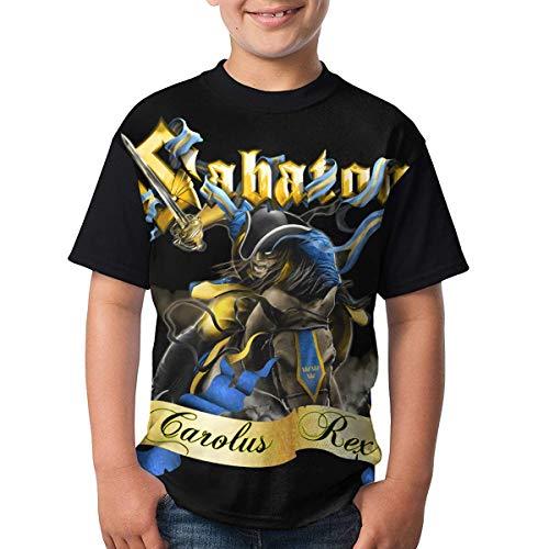 Kmehsv Sabaton Jugend Kurzarm T-Shirt Schwarz Round Neck Shirt Teenager Boys Personality Tees