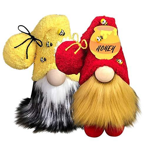 Bumble Bee - Adornos de gnomo a rayas, diseño de abejas, diseño de abejas, decoración para el hogar o la granja (multicolor, 2 unidades)