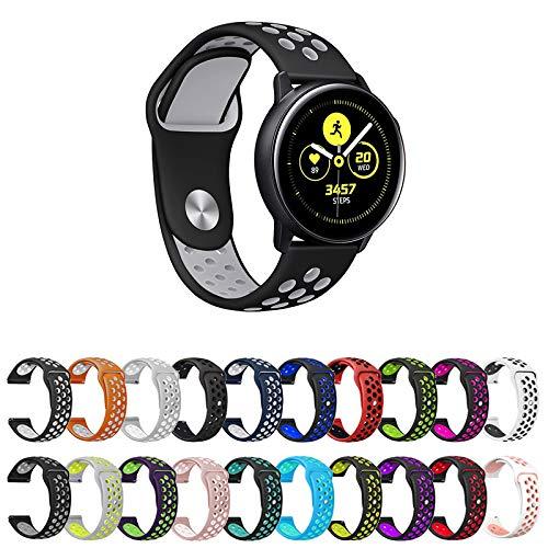 Pulseira Sport Para Samsung Galaxy Watch Active 40mm - Gear S2 Classic - Gear Sport R600 - Galaxy Watch 42mm - Amazfit Bip - Marca Ltimports (Preto com Cinza)