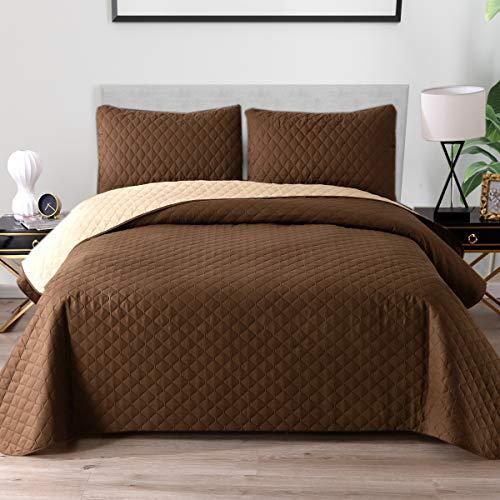 Exclusivo Mezcla Ultrasonic wendbares 2-teiliges Doppel-Bettwäsche-Set mit Kissenbezügen, leichte Tagesdecke/Tagesdecke/Bettüberzug, Schokoladenbraun, 172,7 x 223,5 cm