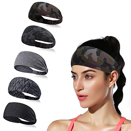 DINIGOFIN Wide Sports Headbands for Women Non Slip Workout Headband Moisture Wicking Sweatband for Yoga Running Athletic Fitness,Camo 5PCS