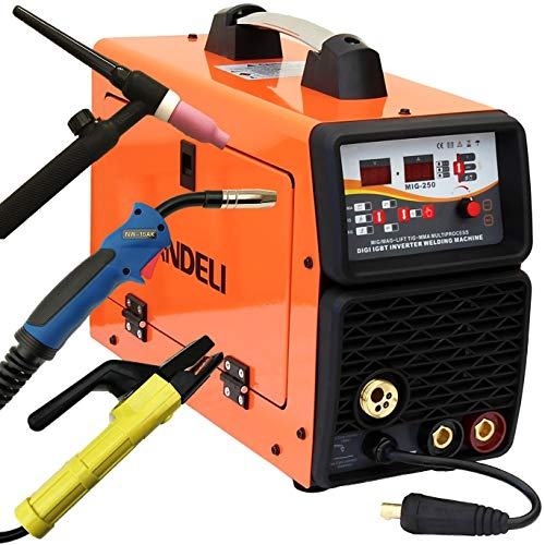 250AMP MIG/MAG/Flux/Lift TIG/MMA 5 in 1 MULTIPROCESS IGBT DC Inverter Welder with MIG Torch TIG Torch and Accessories, Digital Control