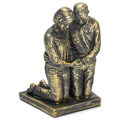 Praying Couple Gray Resin Stone Table Figurine