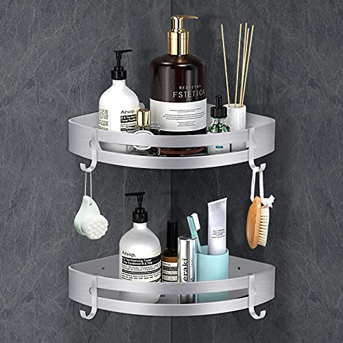 Linkax Duschregal Ohne Bohren, Badezimmer Regal, Badregal für Bad, Space Aluminium, Silber Matte Finish, 2 Stück