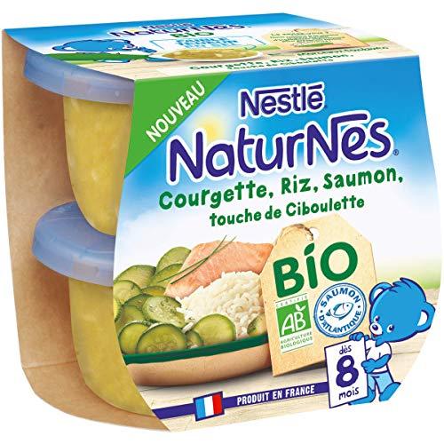 Nestlé Naturnes Bio Petits pots bébé Courgette, Riz, Saumon, touche de ciboulette Dès 8 mois...