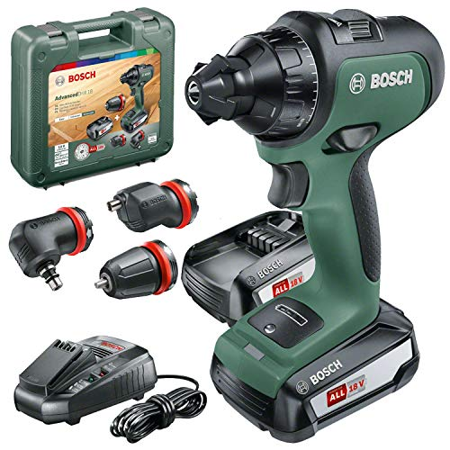 Bosch Cordless Drill AdvancedDrill 18 (2 x Batteries, 18 Volt System, 3 Drill Attachments, in a Carrying Case)