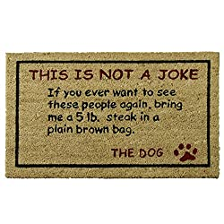 Novelty Doormat for dog lovers, with a message from the dog.