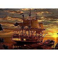 ポスターとプリントサンセットファンタジー海賊船アートピクチャーキャンバスポスターとプリントHDプリント油絵壁画リビングルーム家の装飾フレームレス絵画