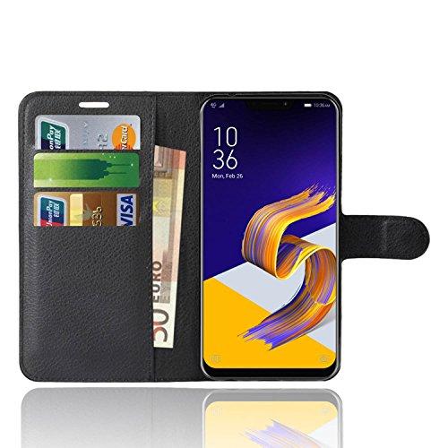 Asus Zenfone 5 ZE620KL Custodia, Anzhao Flip Cover Portafoglio con Slot per Schede Protettiva Custodia in Pelle per Asus Zenfone 5 ZE620KL (Nero)